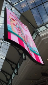 Pacific Fair Myer Atrium NanoLumens custom build WAVE portrait banner in 6mm